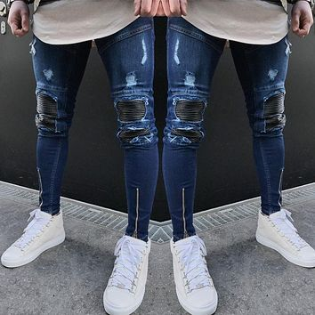 Men's Slim Skinny Runway Straight Elastic Denim Pants Leather Patchwork Destroyed Ripped Ankle-length Pencil Jeans