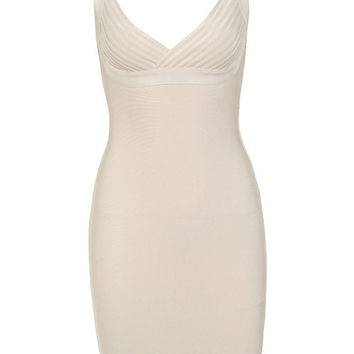 Clothing : Bandage Dresses : 'Norita' Ivory Cross Bust Bandage Dress