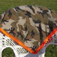 Kay's Redneck Unisex Camo Fleece Baby Blanket with Hunter Orange Edge