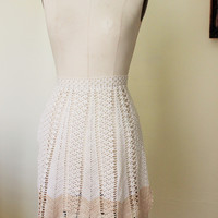 Vintage Crocheted Apron, White With Beige Trim