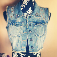 Reworked Studded / Spiked denim vest Small