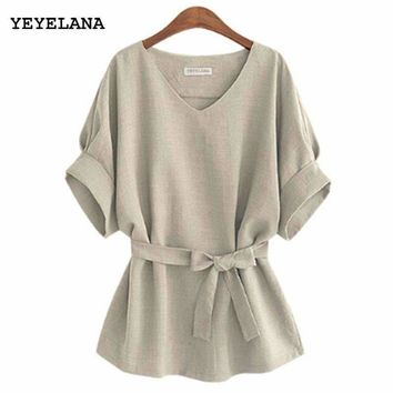 Yeyelana Summer Women Blouses Linen Tunic Shirt V Neck Big Bow Batwing Tie Loose Ladies Blouse Female Top For Tops A073