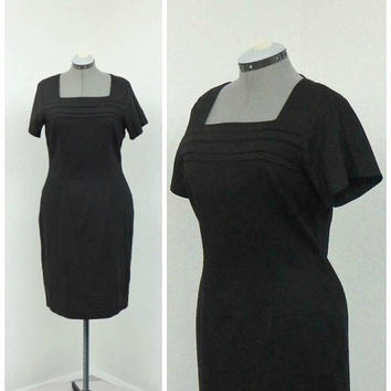 Vintage 90s Mary McFadden Little Black Dress, Shift Dress, Linen Dress, Knee Length Dress, Casual Dress, Summer Dress, Spring Dress