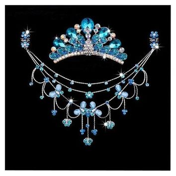 Princess Dress up Accessories Jewelry Set Birthday Party Favor [Blue]