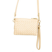 New Adventures Weave Wristlet Handbag - Beige