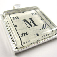 "Vintage Initial Dictionary Illustration Pendant, ""M"", in Glass Tile Square"