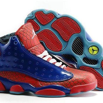DCCKL8A Jacklish Girls Air Jordan 13 Spiderman Gs Blue-red Snakeskin 2016 For Sale