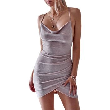 Women Backless Sexy Dress Womens Spaghetti Strap Off Shoulder Mini Dresses Party Club Strap Bandage Dress