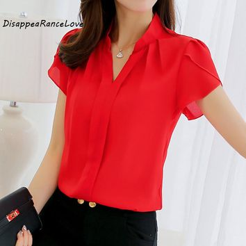 DRL Brand 2017 Women Shirt Chiffon Blusas Femininas Tops Elegant Ladies Formal Office Blouse Plus Size