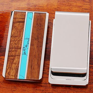 Koa Wood Center Turquoise Inlay Stainless Steel Made Money Clip
