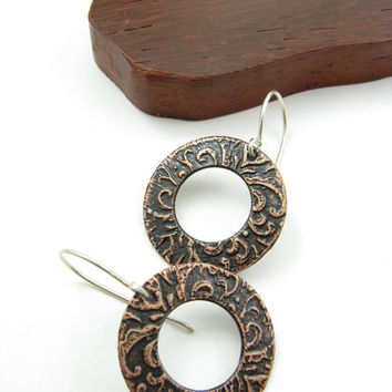 Copper Flourish Earrings Etched Copper Jewelry Everyday Jewelry Handmade Metalwork Hoops Silver & Copper Earrings Handmade Metal Earrings