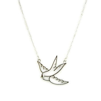 bird necklace,swallow necklace,silvery necklace,short necklace, friendship bridesmaids love gift