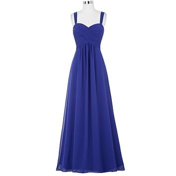 Vintage Royal Blue Bridesmaid Dresses Robe 2017 Cheap Long Pleated Wedding Party Dress Under 50 Maxi Skirt