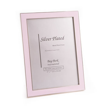 "Silver Plated with Pink Enamel 5""x7"" Picture Frame, Easel Back"
