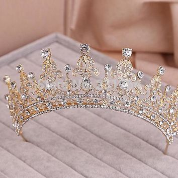 CREYONHS Red/Clear Wedding Bridal Crystal Tiara Crowns Princess Queen Pageant Prom Rhinestone Veil Tiara Headband Wedding Hair Accessory