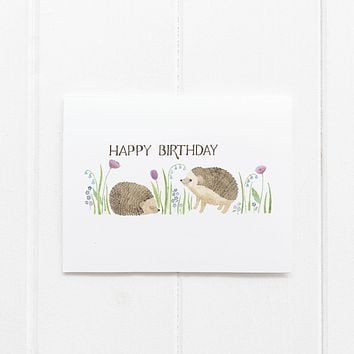 Hedgehogs Birthday Card