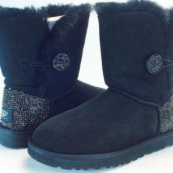 Custom Bailey Buttom UGG Boots made with Swarovski Crystals Free: Shipping, Repair Kit