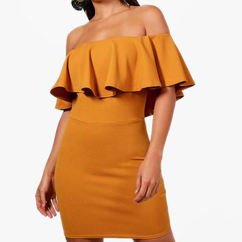 Alena Crepe Off the Shoulder Bodycon Dress | Boohoo