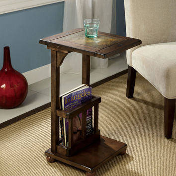 Furniture of america CM-AC093 Wilcox distressed antique style antique walnut finish wood chair side end table