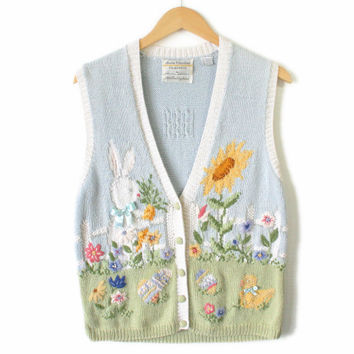 Easter Bunny Garden Tacky Ugly Sweater Vest