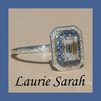 Emerald Cut Diamond Engagement Ring with Blue Sapphire and Diamond Double Halo - LS1189