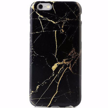 Black and Gold Marble Style Soft Case for iPhone 6 6s, 6s Plus
