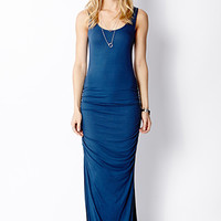 Ruched M-Slit Maxi Dress