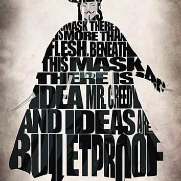 V for Vendetta Inspired V Typographic Poster