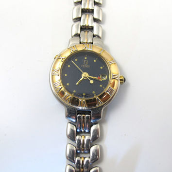 Vintage FENDI Watch, Women's Designer FENDI 920L Two Tone Bracelet Wrist Watch, Very Small Wrist, Excellent Working Condition, New Battery