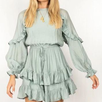 New Fashion Solid Color Lotus Leaf Side Long Sleeve Dress Women Green