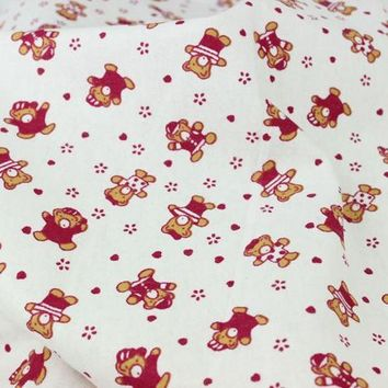 Lovely bear Printed 100% Cotton Flannel Fabric for Children Sleepwear Baby Blankets Garment, Brushed Cloth Cartoon Tissues