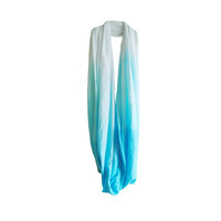 Turquoise Ombre Infinity Scarf,  Hand Dyed Cotton Jersey Scarf, Blue ombre scarf, gradient