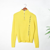 Vintage Yellow Ribbed Tommy Hilfiger Sweater