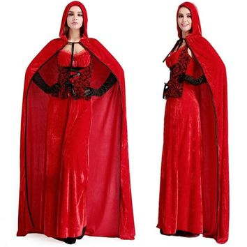 Cool 2015 Latest Sexy Little Red Riding Hood Adult Queen Costumes Cape Long Dress Fancy Princess Cosplay Dress For Halloween costumeAT_93_12