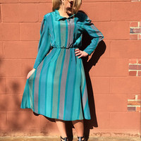1970s Teal Striped Secretary Dress / LTD by Roberta / Size 11 - 12 / Spring, Summer / Great for Work, Date Night