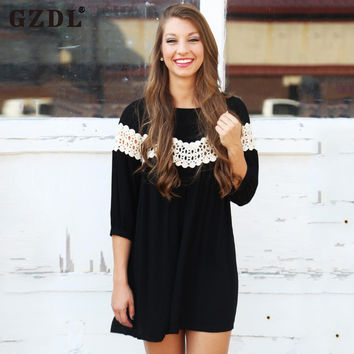 GZDL Women Lady Corchet Hallow Out Casual Loose Long Shirt Flared Plain Boho Summer Mini Jumper Dress Vestidos De Fiesta CL2548