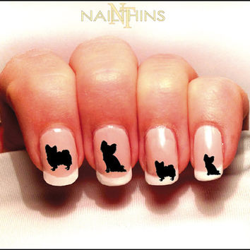 Papillion Nail Decal Dog Silhouette Nail Art by NAILTHINS