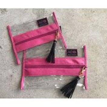Makeup Junkie Bags in Clear Pink