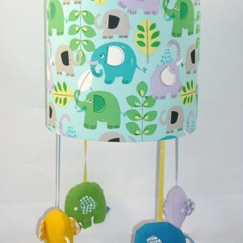 Nursery Mobile Lampshade, Elephant Nursery, Safari animal theme, Nursery lighting ideas, Unique baby room decor, Elephant mobile