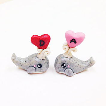 Personalized Valentine Gift, initials whale sculpture, polymer clay, personalized gift for boyfriend, wedding gift, engagement gift