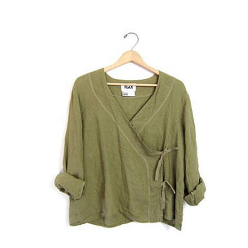 vintage FLAX brand shirt. cropped green blouse. boxy wrap shirt. slouchy LINEN shirt. modern minimalist. Olive green loose fit. Large