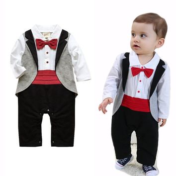 Baby Rompers Cotton Baby Boy Clothes Long Sleeve Bow Tie Baby Bo 33c835b83c4b