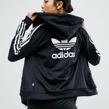 DCCKH3F adidas Originals Slim Full Zip Hoodie In Black