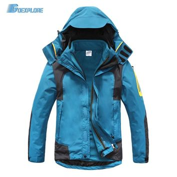 Dropshipping new Windstopper waterproof Warm Windbreaker 3 in 1 Jacket double layer winter Ski Outdoor hiking jackets for men
