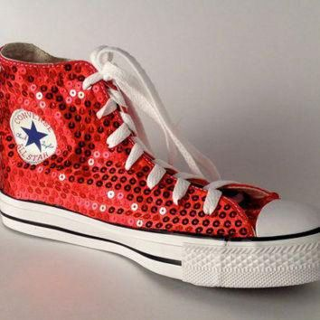 CREYONB Ruby Red Sequin Converse All Star Hi Top by princesspumps on Etsy