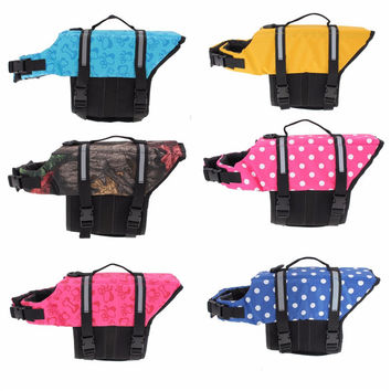 Pet Aquatic Reflective Preserver Float Vest Dog Cat Saver Life Jacket Safety Clothes For Surfing Swimming Vest Swimwear XS/S/M/L