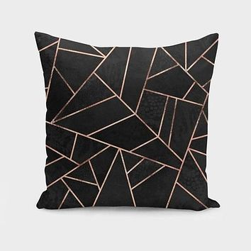 Velvet Black & Rose Gold Cushion/Pillow