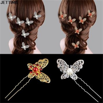 Elegant 1Pcs Butterfly Shaped Hair Pin Bride Rhinestone Wedding Dress Costume Headdress White Red Colors Hairpins