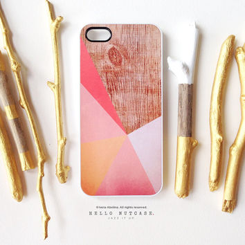 iPhone 6 Case Coral, iPhone 5C Case Wood Print, iPhone 5s Case Chevron, iPhone 4s Case, Geometric iPhone Case, Coral TOUGH iPhone Cover I120