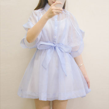 Lolita sweet cute gauze One piece dress short sleeve with waist band cotton vest and dress two piece set